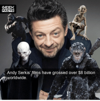 Facts, Memes, and Time: GEEK  FACTS  Andy Serkis' films have grossed over $8 billion  worldwide.  2. Andy Serkis is one of the most underrated actors of our time. What is your favorite Andy Serkis performance? -- Must Follow 🎥 - @MovieFacts 🤓 - @GeekFacts 🤔 - @GeekQuote 😎 - @GeekFeedDotCom