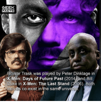 Facts, Future, and Memes: GEEK  FACTS  Bolivar Trask was played by Peter Dinklage in  X Men: Days of Future Past (2014 and Bill  Duke in X-Men: The Last Stand (2006). Both  movies co-exist in the same univers In case you hadn't noticed, Bill Duke is a 6'2 black man and Peter Dinklage is a 4'5 white man. What's your favorite X-Men movie? --Must Follow 🎥 - @MovieFacts 🤓 - @GeekFacts 🤔 - @GeekQuote 😎 - @GeekFeedDotCom