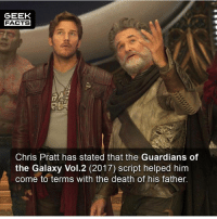 Personally loved the sequel to Guardians. How would you rank Logan, Guardians Vol.2 and Wonder Woman? --Must Follow 🎥 - @MovieFacts 🤓 - @GeekFacts 🤔 - @GeekQuote 😎 - @GeekFeedDotCom: GEEK  FACTS  Chris Pratt has stated that the Guardians of  the Galaxy Vol.2 (2017) script helped him  come to terms with the death of his father. Personally loved the sequel to Guardians. How would you rank Logan, Guardians Vol.2 and Wonder Woman? --Must Follow 🎥 - @MovieFacts 🤓 - @GeekFacts 🤔 - @GeekQuote 😎 - @GeekFeedDotCom