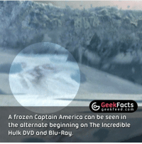 This Easter Egg was initially going to be left in the movie, however the director decided to scrap it at the last minute. 🤔 Follow @geekquote @geekfeeddotcom @geekfacts @geekfunny: Geek  Facts  g e e fe e d c o m  A frozen Captain America can be seen in  the alternate beginning on The Incredible  Hulk DVD and Blu-Ray This Easter Egg was initially going to be left in the movie, however the director decided to scrap it at the last minute. 🤔 Follow @geekquote @geekfeeddotcom @geekfacts @geekfunny