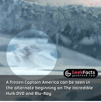 This Easter Egg was initially going to be left in the movie, however the director decided to scrap it at the last minute. 🤔 Follow @geekquote @geekfeeddotcom @geekfacts @geekfunny: Geek  Facts  g e e k f A frozen Captain America can be seen in  the alternate beginning on The Incredible  Hulk DVD and Blu-Ray. This Easter Egg was initially going to be left in the movie, however the director decided to scrap it at the last minute. 🤔 Follow @geekquote @geekfeeddotcom @geekfacts @geekfunny