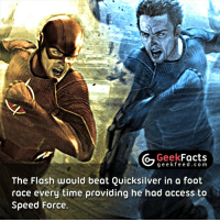 Facts, Memes, and Access: Geek  Facts  g e e k f The Flash would beat Quicksilver in a foot  race every time providing he had access to  Speed Force. This is not even debatable. Or is it? 🤔🤔🤔 Follow @geekquote @geekfacts @geekfunny @geekfeeddotcom