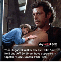 Jurassic Park, Memes, and Black Panther: Geek  Facts  g e e k f Thor: Ragnarok will be the first  film Sam  Neill and Jeff Goldblum have appeared in  together since Jurassic Park (1993) Two great actors. Can you think of a better cast for a Marvel movie? Black Panther? Doctor Strange? 🤔 Follow @geekquote @geekfeeddotcom @geekfacts