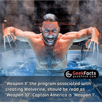 Memes, X-Men, and Deadpool: Geek  Facts  g e e kfe e d c o m  Weapon X' the program associated with  creating Wolverine, should be read as  Weapon 10'. Captain America is 'weapon  1' •Weapon 0 - Classified •Weapon I - Volunteer (Captain America, Project Rebirth) •Weapon II- A Squirrel with Wolverine's Adamantium skeleton, claws, intelligence and healing factor •Weapon III - Skinless Man •Weapon IV - Unnamed criminal •Weapon V - Unnamed criminal •Weapon VI - Unnamed criminal •Weapon VII - American soldier (Nuke-Project Homegrown) •Weapon VIII - A kidnapped mutant •Weapon IX - A kidnapped mutant (possibly John Howlett, Wolverine's older brother •Weapon X - Wolverine; he was cloned and in the 23rd attempt X-23 was made •Weapon XI - None-Deadpool in the film X-Men Origins: Wolverine •Weapon XII - The Huntsman •Weapon XIII - Fantomex •Weapon XIV - Stepford Cuckoos •Weapon XV - Ultimaton •Weapon XVI - Allgod Follow @geekfacts @geekquote @geekfeeddotcom @geekfunny