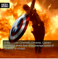 America, Facts, and Memes: GEEK  FACTS  In the Marvel Cinematic Universe, Captain  America's shield flies at an average speed of  18.4m/s, or 41mph Rank your Captain America movies from best to worst. 1. Winter Soldier 2. Civil War 3. First Avenger. I know this is pretty controversial, but I really didn't rate First Avenger. That said, I've seen it once. May try it again. How about you? Comment below.👌🏻 --Must Follow 🍩 - @GrubFacts 🍿 - @MovieFacts 🤓 - @GeekFacts 🤔 - @GeekQuote ✈️ - @TripFacts
