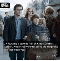 Choose One, Facts, and Harry Potter: GEEK  FACTS  JK Rowling's parents met at Kings Cross  Station, where Harry Potter takes the Hogwarts  Express each year. If you had to choose one franchise to watch for the rest of your life, which one would you choose? Star Wars, Lord of the Rings or Harry Potter? -- Must follow 🎥 - @MovieFacts 🤓 - @GeekFacts 🤔 - @GeekQuote 😎 - @GeekFeedDotCom