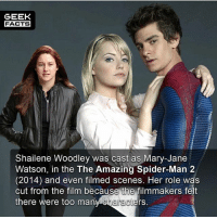 Bad, Facts, and Memes: GEEK  FACTS  Shailene Woodley was cast as Mary-Jane  Watson, in the The Amazing Spider-Man 2  (2014) and even filmed scenes, Her role was  cut from the film because the filmmakers felt  there were too manv characters. The above photo of Woodley was actually taken from TASM2 set. What did everyone think of TASM2? Was it really as bad as people made out? -- Must Follow 🎥 - @MovieFacts 🤓 - @GeekFacts 🤔 - @GeekQuote 😎 - @GeekFeedDotCom