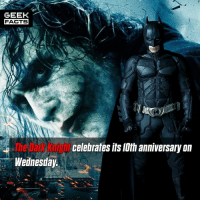 Facts, Memes, and Wow: GEEK  FACTS  The Dark Knight  Wednesday  celebrales lts lth anniversary on Wow. Didn't time fly? This film for me, is still the best comic book movie made. The only one that comes close is Logan. What is your opinion of the Dark Knight? Comment below.👌🏻 --Must Follow 🍩 - @GrubFacts 🍿 - @MovieFacts 🤓 - @GeekFacts 🤔 - @GeekQuote ✈️ - @TripFacts