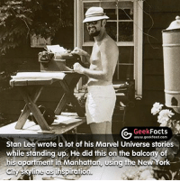 Facts, Memes, and New York: Geek  Facts  www.geekfeed.com  Stan Lee wrote a lot of his Marvel Universe stories  while standing up. He did this on the balcony of  his apartment in Manhattan, Usina the New York  Skyline ins iration. We owe so much to this guy. What's your favorite Marvel hero and villain? -- Must follow 🤓 - @GeekFacts 🤔 - @GeekQuote 😎 - @GeekFeedDotCom