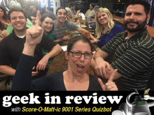 """Beer, Bigfoot, and Community: geek in review  with Score-O-Matt-ic 9001 Series Quizbot Score-O-Matt-ic 9001 Series Quizbot's Geek In Review  HUMANS!  """"Dublin Down"""" from Lone Star Taps and Caps Fort Worth brought the luck o' the Irish at Quiz last week, and pulled into second place. Celebratory photos followed, as I'm told that doesn't happen too often. Unrelated, y'all don't need to keep trying to buy the Quizmaster drinks, too. She good! Keep those smiles smiling, team!  You team names this week also brought some smiles, with references all over the map.  ABOVE AVERAGE TEAM NAMES  Disney's Got a Gunn - Flat Tail Brewing, Corvallis, OR Boeing it is the New Schruteing It - New Axiom, Lees Summit, MO My FAAther Grounded Me - Whitestone Brewery, Cedar Park, TX Cervix-A-Lot - Blind Donkey, Pasadena, CA Deutsche Bank Must Have Confused """"FICO"""" and """"RICO"""" - Owen O'Leary's, Southborough, MA Def Leprechaun: Pour Some Sugar On Me Lucky Charms - British Bulldog, Denver, CO We Didn't Kilkenny - Brewmented, Longmont, CO Necessary Taxidermy - Cactus Grill & Cantina, Potsdam, NY Only Fascists Wear Pants at Home - Hugh O'Neill's, Malden, MA 430 Million for Trout?! How Much for Steak?! - Trident Grill, Tucson, AZ As Fashionable as the Discount Section at Urban Outfitters - Tenley Bar and Grill, Washington, DC Hey Next Team Up to The Scoring Table Wins that Gift Card - Fado Irish Pub, Washington, DC One of the Pencils Has the Measles *cough* Now I Do Too - Loowit Brewing, Vancouver, WA The NCAA had Admissions Scandals Before It was Cool - Hopcat, Madison, WI The Boeing Engineers Got Extra Time On Their SATs - The Jeanie Johnston, Jamaica Plains, MA Elmo, Kermit, Cookie Monster: (*&^, Marry, Kill? - Unlawful Assembly Brewing at Legacy Hall, Plano, TX Spring Break Makes Grad Students Bitter -  O'Niell's Pub (Heights), Albuquerque, NM  LET'S DO THE NUMBERS  That coveted second Metro spot was in hot contention this week! .01 point kept Portland from tying it up with Dallas, and Denver wa"""