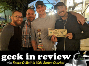 """Bad, Baseball, and Beer: geek in review  with Score-O-Matt-ic 9001 Series Quizbot Score-O-Matt-ic 9001 Series Quizbot's Geek In Review  HUMANS!  """"The 4 Whoresmen"""" (I see what you did there) from NettBar in Houston, TX pulled the upset last week. They've never taken first place before... UNTIL LAST WEEK! I heard it even came down to the Sudden Death questions! Your Quizmaster is very proud, and also thankful for the sharp pencils you helped provide. You've cancelled the Apocalypse!  The team names this week also (shouldn't) bring about the end of the world, but I've seen some weird stuff. Y'all hit up the opening of baseball, spacewalks, and bagel preferences. Maybe this IS the end of the world?!  ABOVE AVERAGE TEAM NAMES  The Greatest Team Since Sliced Bagels - Unicorn, Seattle, WA Conclusion of the Illusion of Collusion - Oskar Blues Home Made Liquids and Solids, Longmont, CO Two Girls, One Spacesuit - The Royal Room, Tucson, AZ More Revealing Than The Mueller Report - BREWMENTED, Longmont, CO Just Here for the Trivia Just Kidding I Like The Beer Too - Hanging Hills Brewing Company, Hartford, CT Viking Cruise Survivors: One Survivor at a Time - 400 Rabbits at Alamo Drafthouse Slaughter Lane, Austin, TX I Theranos What You Did Last Summer - Red's Porch, Austin, TX Barr Busted My Impeachment Bracket - EDGE Brewing CO., Boise, ID Us 2: Running with Scissors - Glass Half Full Dallas / Fort Worth, Richardson, TX Bieber's Unnoticed Break from Music - 3 Squares Restaurant, Maple Grove, MN My Intellect Not My Money Got Me Into Community College - McLadden's West Hartford, West Hartford, CT Day One of Baseball is Tomorrow and the Mets are Already Eliminated - Taprock Beer Bar & Refuge, Unionville, CT Not Surprised That NASA Scientists Unfamiliar with Female Anatomy - The Harp Inn Irish Pub, Costa Mesa, CA The Arch of Bagels is Sliced But Bends Towards Cream Cheese - Twelve Mile Limit, New Orleans, LA Complete Exoneration? At This Time of Year? At This Time of Day? Localized"""