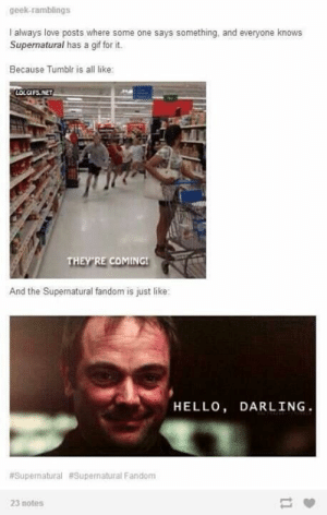 Supernatural Memes 2 - Meme #12: They're Coming - Wattpad: geek-ramblings  I always love posts where some one says something, and everyone knows  Supernatural has a gif for it.  Because Tumblr is all like:  LOLGIFS,NET  THEY RE COMING  And the Supernatural fandom is just like  HELLO, DARLING  #Supernatural #Supernatural Fandom  23 notes Supernatural Memes 2 - Meme #12: They're Coming - Wattpad