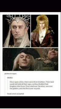 geekery invogue:  deslea:  Once upon a time, there were three brothers. Their land  could not hold all their egos, so theydivided their  kingdom into three. One ruled over the elves, one over  the goblins, and thethird over wizards.  head canon accepted