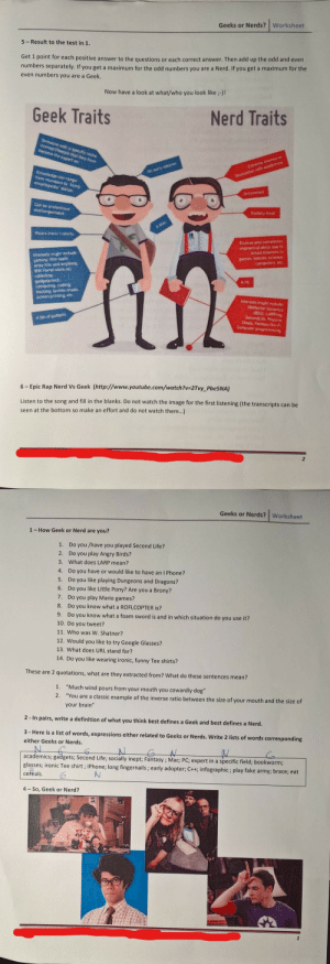 English test in french school.: Geeks or Nerds?  Worksheet  5-Result to the test in 1.  Get 1 point for each positive answer to the questions or each correct answer. Then add up the odd and even  numbers separately. If you get a maximum for the odd numbers you are a Nerd. If you get a maximum for the  even numbers you are a Geek.  Now have a look at what/who you look like;-)!  Geek Traits  Nerd Traits  Someone with a specific niche  nterest/lifestyle that they have  become the expert on  Extreme interest e  An early adopter  Knowledge can range  from mundane to living  encyclopedia status.  fascination with academics  Introveried  Can be pretentious  and longwinded  Socialily inept  A Mac  Wears ironic t-shirts  Diverse and sometimes  impractical skille due to  broad interests i  Interests might include  gaming film (both  artsy film and anything  Will Ferrel stars in  games movies science  computers etc  collecting  gadgets/tech  computing coding  hacking techno music  screen printing etc  A PC  Interests might include  Battlestar Galactica  (BSG LARPing  Second e Physics  Chess. Fantasy/Sa-Fi  Computer programming  A fan of gadgets  6 Epic Rap Nerd Vs Geek (http://www.youtube.com/watch?v=2Tvy_Pbe5NA)  Listen to the song and fill in the blanks. Do not watch the image for the first listening (the transcripts can be  seen at the bottom so make an effort and do not watch them...)  2  Geeks or Nerds?  Worksheet  1 How Geek or Nerd are you?  Do you /have you played Second Life?  1.  2.  Do you play Angry Birds?  What does LARP mean?  3.  Do you have or would like to have an I Phone?  4.  5. Do you like playing Dungeons and Dragons?  Do you like Little Pony? Are you a Brony?  6.  7.  Do you play Mario games?  8.  Do you know what a ROFLCOPTER is?  9.  Do you know what a foam sword is and in which situation do you use it?  10. Do you tweet?  11. Who was W. Shatner?  12. Would you like to try Google Glasses?  13. What does URL stand for?  14. Do you like wearing ironic, fu