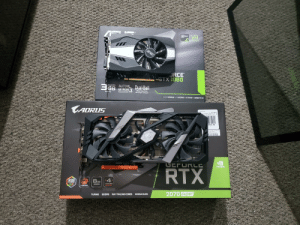 Used my Christmas money to go from a 1060 3gb to a 2070 super: GEFOR  GTX  READY  SNSV  JRCE  STX 1060  GDDRS AUTOS  3GB EXTREME  Dual-Ball  Bearing Fan  2X Longer Lifespan  100% Automated  Production Process  Memory  GAMEWORKS VRWORKS NG-SYNC DIRECTX 12  LAORUS  VideoCards  171  v19338 K1378F  V-N207SAORU  TEAM UP FIGHT ON  Ш  $589.99  ction is My 1 Priority!  oc ID Tom K  rocenter.con/survey  GEFURLC  GIGABYTE  NVIDIA.  BTA  RTX  4  8GB  RGB  YEARS  WARRANTY  FUSION  GDDR6  2.D  WINDFORCE  withe 50 days of purchese  TM  2070 Super  TURING GDDR6 RAY TRACING CORES NVIDIA DLSS Used my Christmas money to go from a 1060 3gb to a 2070 super