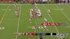 Jimmy Garoppolo lofts it up and @MattBreida lays out for the @49ers TD!  @JimmyG_10 | #SFvsKC https://t.co/oEcnPG3Kmq: GEH  ST &10  G  SF 0  KC  7  1ST  4:22  NEL Jimmy Garoppolo lofts it up and @MattBreida lays out for the @49ers TD!  @JimmyG_10 | #SFvsKC https://t.co/oEcnPG3Kmq