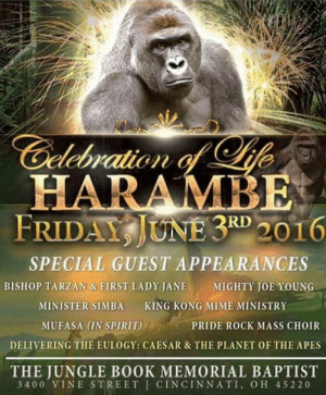 60+ Dank Harambe memes - Funniest Memes (2019) | TopiBestList: Gelebration of ife  HARAMBE  FRIDAY JUNE 3RD 2016  SPECIAL GUEST APPEARANCES  BISHOP TARZAN & FIRST LADY JANE  MIGHTY JOE YOUNG  KING KONG MIME MINISTRY  MINISTER SIMBA  MUFASA (IN SPIRIT)  PRIDE ROCK MASS CHOIR  DELIVERING THE EULOGY: CAESAR & THE PLANET OF THE APES  THE JUNGLE BOOK MEMORIAL BAPTIST  3400 VINE STREET CINCINNATI, OH 45220 60+ Dank Harambe memes - Funniest Memes (2019) | TopiBestList