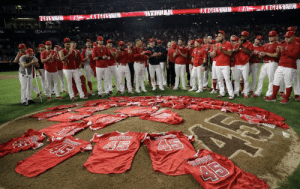 Baseball, Crying, and Yeah: GELSWIN  4C NGELSWIN  ANGELS WIN  E GELS WIN  DLEXS  Skale's  45  A5 Angels throw no hitter as they wear their fallen team mates jersey!! no crying in baseball, yeah right.