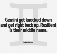 Too Much, Free, and Gemini: Gemini get knocked down  and get right back up. Resilient  is their middle name.  ZodiacMind.com Feb 11, 2017. Many will talk too much today and confide in a dear person about some of their doubts and little secrets. It will be a  ...... ...FOR FULL HOROSCOPE VISIT: http://horoscope-daily-free.net/gemini