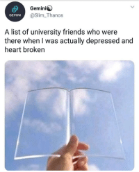 Friends, Gemini, and Heart: Gemini  @Slim_Thanos  GEMINI  A list of university friends who were  there when I was actually depressed and  heart broken