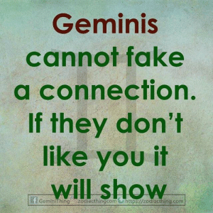 geminis: Geminis  cannot fake  a connection.  If they don't  like you it  will show  Geminithing zodiacthingcom&https://zodiacthing.com