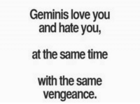Love, Time, and You: Geminis love you  and hate you,  at the same time  with the same  vengeance.