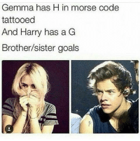 Goals, Memes, and 🤖: Gemma has H in morse code  tattooed  And Harry has a G  Brother/sister goals Goals