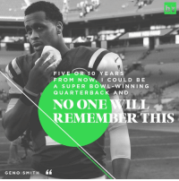 "After a sucker punch KO'd him into irrelevance, Geno Smith tells B-R he's ""way too talented"" to not be a starting QB in the NFL again. He's not the only one who thinks so. [Link in bio]: GEN o S MIT H  FIVE OR 1 O YEARS  F R O M N O  w, I cou L D B E  A SUPER BOWL WIN NIN G  Q U A R T E R B A C K A N D  NO ONE YILL  REMEMBER THIS After a sucker punch KO'd him into irrelevance, Geno Smith tells B-R he's ""way too talented"" to not be a starting QB in the NFL again. He's not the only one who thinks so. [Link in bio]"
