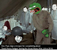 "Memes, 🤖, and Fatigue: Gen. Pepe slaps a trooper for complaining about  'Dank Meme Fatigue"" during the Great Meme War. (circa 2016) Sent by Anthony, a patriot."