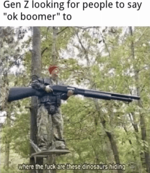 "Boom boom boom: Gen Z looking for people to say  ""ok boomer"" to  where the fuck are these dinosaurs hiding Boom boom boom"