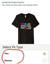 😂😂😂😂: Gender By Graphic Rhythm  Yes, There are More than Two Genders Shirt  THERE ARE  MORE THAN  TWOGENDERS  Select Fit Type  Men  Women 😂😂😂😂