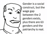 Damn so technically you can change genders to a male and then your wage gap is gone right?: Gender is a social  Construct, but the  wage gap  between the 2  genders exists  plus there are 63  j genders and the  A patriarchy is real Damn so technically you can change genders to a male and then your wage gap is gone right?