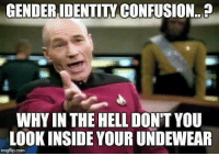 Hell, Forwardsfromgrandma, and Easy: GENDERIDENTITY CONFUSION..  WHY IN THE HELL DON'T YOU  LOOK INSIDE YOUR UNDEWEAR  imgilip.conm