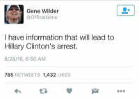 -oldmin: Gene Wilder  Offical Gene  I have information that will lead to  Hillary Clinton's arrest.  8/28/16, 6:50 AM  785  RETWEETS 1,432  LIKES -oldmin