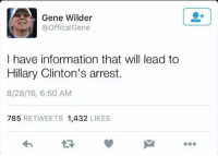 Gene Wilder: Gene Wilder  @Offical Gene  I have information that will lead to  Hillary Clinton's arrest.  8/28/16, 6:50 AM  785  RETWEETS 1,432  LIKES