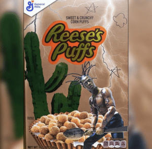 Travis Scott got his own Reese's Puffs cereal 👀🔥 @trvisXX https://t.co/NBZ88A32RD: General  Mills  SWEET&CRUNCHY  CORN PUFFS  Reese's  Puffs  INGS  PERTICUPSERVING  120 0.5 160  NET WT 11.5 02 (326g Travis Scott got his own Reese's Puffs cereal 👀🔥 @trvisXX https://t.co/NBZ88A32RD