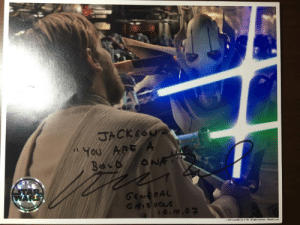 I have an uncle that used to work in the sound department for Lucasfilm. During the production of the prequels, he befriended Matthew Wood. During that time he was able to score me my most prized position. Here is a note from General Grievous letting me know that I'm a bold one.: GENERAL  RA  o 2005 Lucasfilm Ltd. & TM. A rights reserved. OfficialPx.com I have an uncle that used to work in the sound department for Lucasfilm. During the production of the prequels, he befriended Matthew Wood. During that time he was able to score me my most prized position. Here is a note from General Grievous letting me know that I'm a bold one.