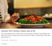 """Chinese Food, Food, and Tumblr: General Tso's chicken creator dies at 98  The chef behind one of America's most popular Chinese food dishes has  died.Chef Peng Chang-kuei was 98 when he died on November 30th from  pneumonia, a  hours ago -nbcnews.com  Share <p><a href=""""http://captainvatican.tumblr.com/post/153967481532/someone-canonize-this-man"""" class=""""tumblr_blog"""">captainvatican</a>:</p>  <blockquote><p>Someone canonize this man.</p></blockquote>"""