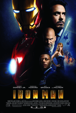 In Iron Man (2008) Robert Downey Jr. plays both Tony Stark and Iron Man.: Generater  674.14  TAIND SAS  TERRENCE  HOWARD  JEFF  GWYNETH  ROBERT  BRIDGES  DOWNEY JR.  AND PALT ROW  IPON MAW  VISUAL EFFECTS  SUPERVISOR  VISUAL EFECIS AND  EXEGUTIY  FRODUCERS  PROUCTON  MUSIC D  SIPERNS  EXECUTIVE  PRODUSERS  DRECTED  PG-13 PARENTS STRONGLY CAUTIONED D  SOME MATERIAL MAY BE NAPPROPRIATE FOR CHILDREN UNDER 1  SOME INTENSE SEQUENCES OF SCI-FI ACTION AND  VIOLENCE AND BRIEF SUGGESTIVE CONTENT  MARVEL  SDDS  MAEVE MIAN  SOUNDTRACK AVAILABLE ON LIONSGATE RECORDSS  5.2. O 8  IronMarnMovie.com  PRINTED IN USA In Iron Man (2008) Robert Downey Jr. plays both Tony Stark and Iron Man.