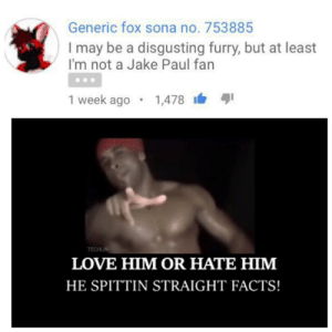 I hate furrys but he's got a point: Generic fox sona no. 753885  I may be a disgusting furry, but at least  I'm not a Jake Paul fan  i 1  1 week ago • 1,478  TECHLIN  LOVE HIM OR HATE HIM  HE SPITTIN STRAIGHT FACTS! I hate furrys but he's got a point