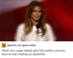 Politics, Sugar, and MeIRL: generic-url-goes-here  When your sugar daddy gets into politics and you  have to start making up speeches meirl