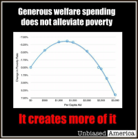 "Curving, Memes, and Minimum Wage: Generous welfare spending  does not alleviate poverty  7.00%  5.25%  3.50%  1.75%  0.00%  e 1.75%  3.50%  5.25%  7.00%  $500 $1,000  $1,500  $2,000  $2,500  $3,000  Per Capita Aid  It creates more of it  Unbiased America, (WR) MYTH: DECREASING WELFARE SPENDING WILL HARM THE POOR:  The welfare state, and the perverse incentives it creates, never gets the blame it deserves.   It is often thought among the political left that increasing welfare spending, or any decrease in welfare spending, would be catastrophic to ""the poor."" Those that advocate for lowering welfare spending or adding back in work incentives want to see people starving in the streets, obviously.  THE REALITY: It's the complete opposite. Not only are there diminishing returns on welfare spending, its more than that, there is actually an increase in the poverty rate past a certain point in spending per capita. There exists a Laffer-Curve relationship between welfare spending and poverty.  In short, poverty is in effect subsidized by the welfare state. There is a sweet spot right around $1,291 spent per capita as you can see on the graph below, so a social safety net can work, considering the government largesse offered does not exceed what that laborer can earn by getting a job and being productive.  By increasing the benefits offered you increase the implicit taxes (the costs of leaving welfare relative to the job market) of entering the job market and subsidize reductions in human capital (skills) for each individual laborer that collects welfare.  Mind you, the person collecting the welfare is not to blame, they're responding to incentives. It is the government and the left that insist that the welfare subsidies persist, and actually increase.  Wages would have to rise substantially to lure the welfare recipient off government largesse. If you think an increase in the minimum wage will do the trick, think again:  Despite the fact that raising the costs of labor will result in less jobs available, those low skilled workers collecting welfare have been paid/incentivized to NOT acquire the skills necessary to earn the increased wages, hence why they will not leave the welfare payroll to begin with.  -Will Ricciardella  Sources:  https://danieljmitchell.wordpress.com/2012/07/13/a-picture-of-how-redistribution-programs-trap-the-less-fortunate-in-lives-of-dependency/"