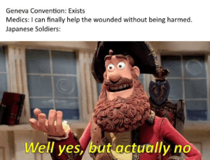 Soldiers, Help, and History: Geneva Convention: Exists  Medics: I can finally help the wounded without being harmed.  Japanese Soldiers:  Well yes, but actually no Sanitäter, bitte