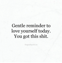 🌻: Gentle reminder to  love yourself today.  You got this shit.  the good quote co 🌻