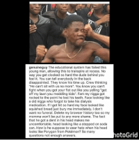 "@GenuineGuy LMAOOOO 😭😭😭😭😭: genuineguy The educational system has failed this  young man, allowing this to transpire at recess. No  way you get clocked so hard the dude behind you  feel it. You can tell everybody In the back  disappointed. They know his time up. Crew thinking  ""He can't sit with us no more'. You know you can't  fight when you got your fist out like you yelling ""get  off my lawn you meddling kids"". Fam my nigga got  rocked to the point he lost his teeth. Face looking like  a old nigga who forgot to take his dialysis  medication. If got hit so hard my face looked like  squished bread just bury me immediately. I don't  want no funeral. Delete my browser history too so my  momma won't be put to any more shame. The fact  that he got a dent in his head makes me  uncomfortable. head looking like a stepped on soda  can. How is he suppose to wear hats when his head  looks like Porygon from Pokémon? So many  questions not enough answers.  otoGrid @GenuineGuy LMAOOOO 😭😭😭😭😭"