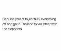 Friends, Memes, and Fuck: Genuinely want to just fuck everything  off and go to Thailand to volunteer with  the elephants Dm to 5 friends if this is you rn 🤙