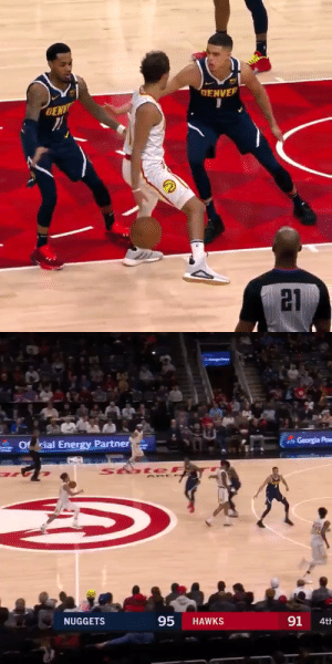👀 Trae Young has ridiculous handles! Behind the back, between his legs and fakes out his former AAU teammate.   https://t.co/21a6LKFAqz: GENVER  DENV  21   Georgia Pow  Of rial Energy Partner  StateF  95  91  NUGGETS  HAWKS  4th 👀 Trae Young has ridiculous handles! Behind the back, between his legs and fakes out his former AAU teammate.   https://t.co/21a6LKFAqz