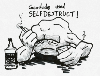 Geodude, Super, and Used: Geodude used  SELFDESTRUCT It's super effective! https://t.co/5Upf7WbO2A