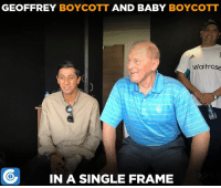 Memes, 🤖, and Waitrose: GEOFFREY  BOYCOTT  AND BABY  BOYCOTT  Waitrose  IN A SINGLE FRAME 'BabyBoycs' Haseeb Hameed having a chat with Geoffrey Boycott during today's play.