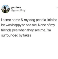 Getting real tired of these fake ass friends 🙄😂 @x__social_butterfly_x: geoffrey  @geoooffrey  I came home & my dog peed a little bc  he was happy to see me. None of my  friends pee when they see me. I'm  surrounded by fakes Getting real tired of these fake ass friends 🙄😂 @x__social_butterfly_x